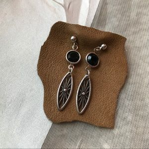 Vanessa Mooney Black Gem & Filigree Earrings